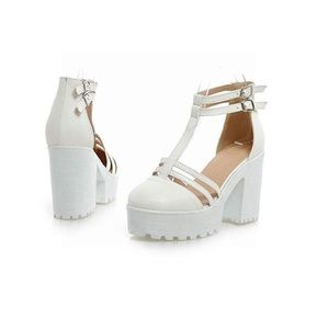 Shoes - FASHION Chunky Heel Double Buckle Round Platforms